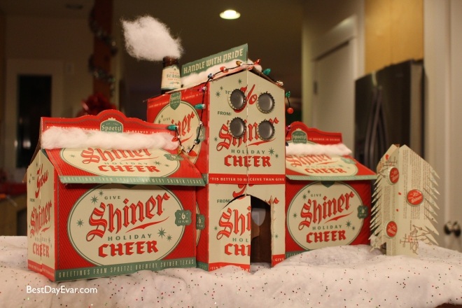 My crowning achievement -- a gingerbread house made of Shiner Cheer boxes.