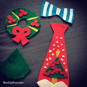 Sample Christmas brooches from this year's Hideous Christmas.